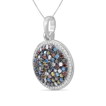 "1.07 ct. t.w. Multicolored Diamond Pendant Necklace in Sterling Silver. 18"", , default"