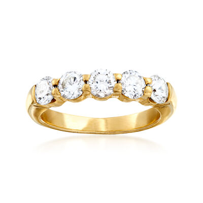 C. 1990 Vintage 1.50 ct. t.w. Diamond Five-Stone Band in 14kt Yellow Gold, , default