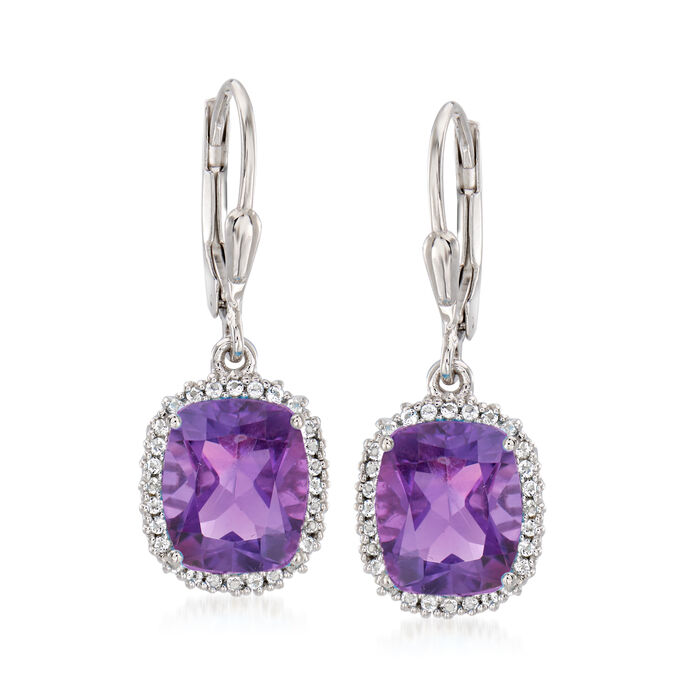 4.90 ct. t.w. Amethyst and .20 ct. t.w. White Topaz Drop Earrings in Sterling Silver, , default