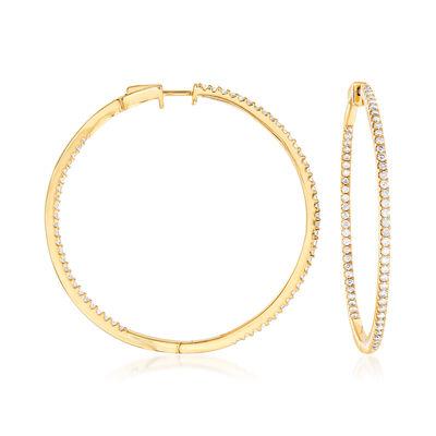 2.00 ct. t.w. Diamond Inside-Outside Hoop Earrings in 18kt Gold Over Sterling, , default