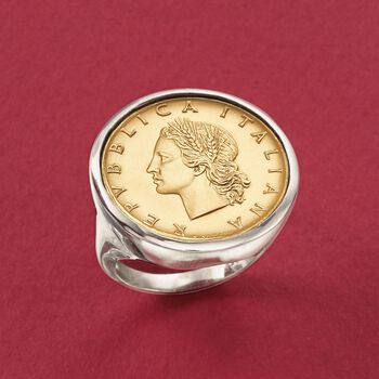 Italian Genuine 20-Lira Coin Ring in Sterling Silver, , default
