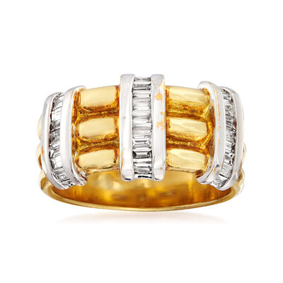 C. 1980 Vintage .80 ct. t.w. Diamond Station Ring in 18kt Two-Tone Gold