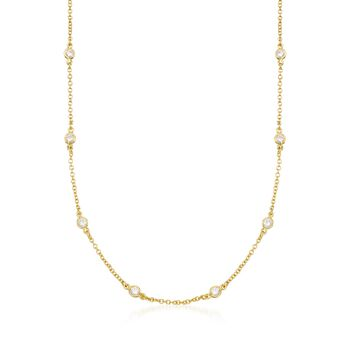 1.00 ct. t.w. CZ Necklace in 14kt Gold Over Sterling, , default
