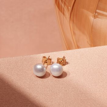 6-7mm Cultured Pearl Stud Earrings in 14kt Yellow Gold, , default