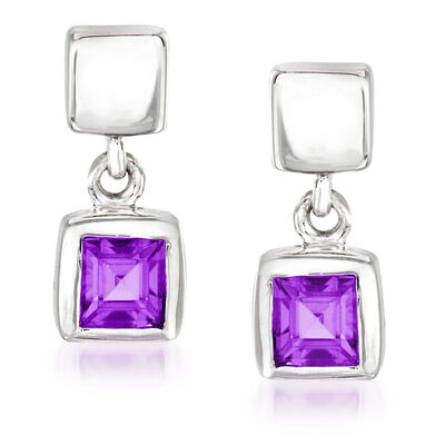 "Zina Sterling Silver ""Ice Cube"" .40 ct. t.w. Amethyst Drop Earrings"
