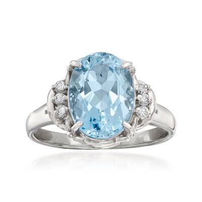 C. 1990 Vintage 1.45 Carat Aquamarine Ring with Diamond Accents in Platinum