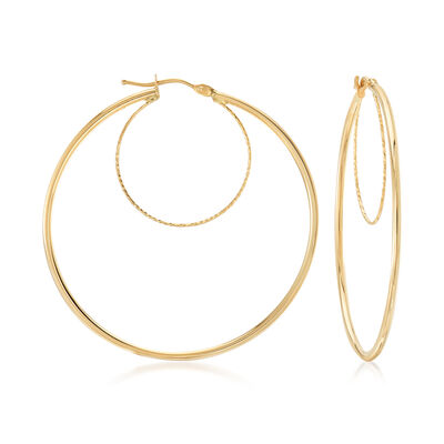 Italian 14kt Yellow Gold Double-Hoop Earrings