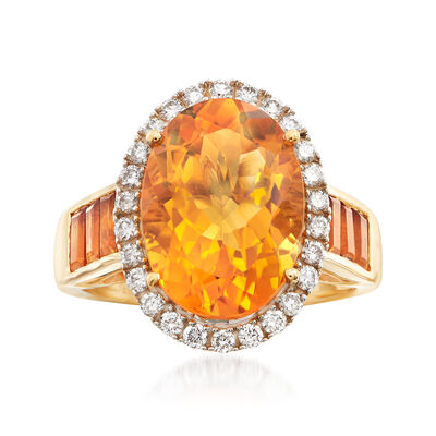 6.70 ct. t.w.  Yellow Citrine and .33 ct. t.w. Diamond Ring in 14kt Yellow Gold, , default