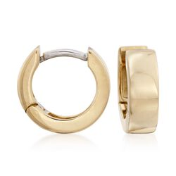"Roberto Coin 4mm 18kt Yellow Gold Hoop Earrings. 3/8"", , default"