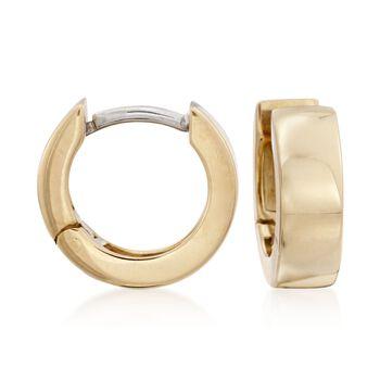 """Roberto Coin 4mm 18kt Yellow Gold Hoop Earrings. 3/8"""", , default"""