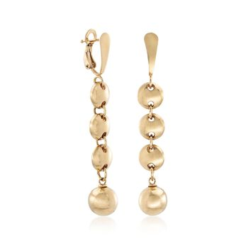 14kt Yellow Gold Circle and Bead Drop Earrings. Drop Earrings, , default