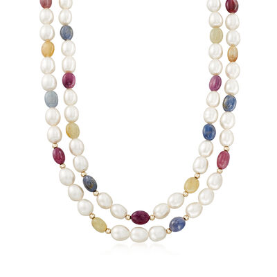 Cultured Pearl, Ruby and Multicolored Sapphire Double Strand Necklace, , default