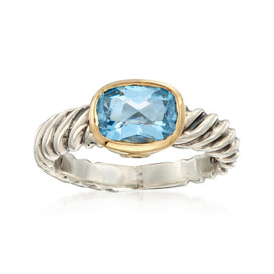 C. 1990 Vintage David Yurman 1.75 ct. t.w. Blue Topaz Ring in 18kt Yellow Gold and Sterling Silver, , default