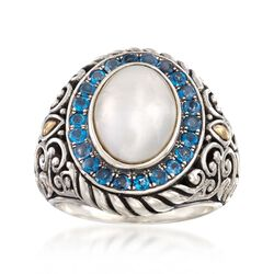 10-14mm Mabe Pearl and 1.10 ct. t.w. Blue Topaz Ring in Sterling Silver and 18kt Gold, , default