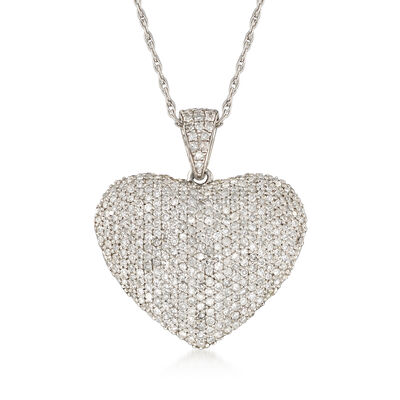 1.00 ct. t.w. Diamond Heart Pendant Necklace in Sterling Silver, , default