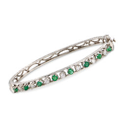 "C. 1980 Vintage .80 ct. t.w. Emerald and .55 ct. t.w. Diamond Bangle Bracelet in 14kt White Gold. 7"", , default"