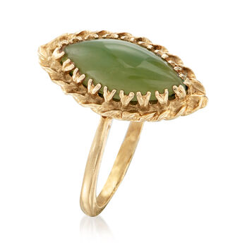 C. 1970 Vintage Jade Marquise-Shaped Ring in 10kt Yellow Gold. Size 7.25, , default