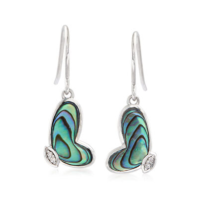 Abalone Shell Butterfly Wing Drop Earrings in Sterling Silver, , default