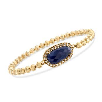 5.00 Carat Sapphire and .20 ct. t.w. White Topaz Bead Stretch Bracelet in 18kt Gold Over Sterling, , default