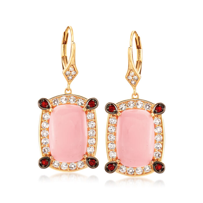 Pink Opal, 1.50 ct. t.w. White Topaz and .10 ct. t.w. Garnet Drop Earrings in 18kt Gold Over Sterling