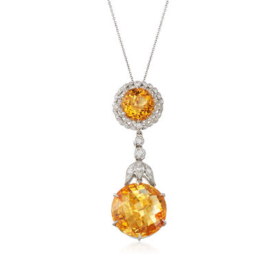 C. 2000 Vintage 15.74 ct. t.w. Citrine and .50 ct. t.w. Diamond Drop Pendant Necklace in 18kt White Gold, , default