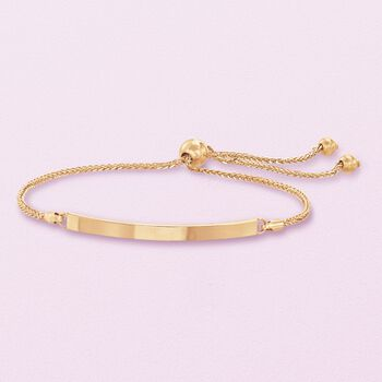 Italian 14kt Yellow Gold Curved Bar Bolo Bracelet, , default