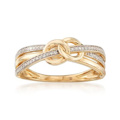 .10 ct. t.w. Diamond Crisscross Ring in 14kt Yellow Gold, , default