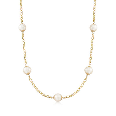 9.5-10mm Cultured Pearl Station Necklace in 14kt Yellow Gold, , default