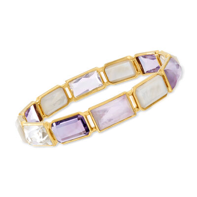 "C. 2000 Ippolita ""Rock Candy"" Gelato Lucia 12.00 ct. t.w. Amethyst and Multi-Gemstone Bangle Bracelet in 18kt Yellow Gold"