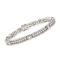 """5.00 ct. t.w. Diamond Bar Bracelet in 14kt White Gold. 7"""", , default"""