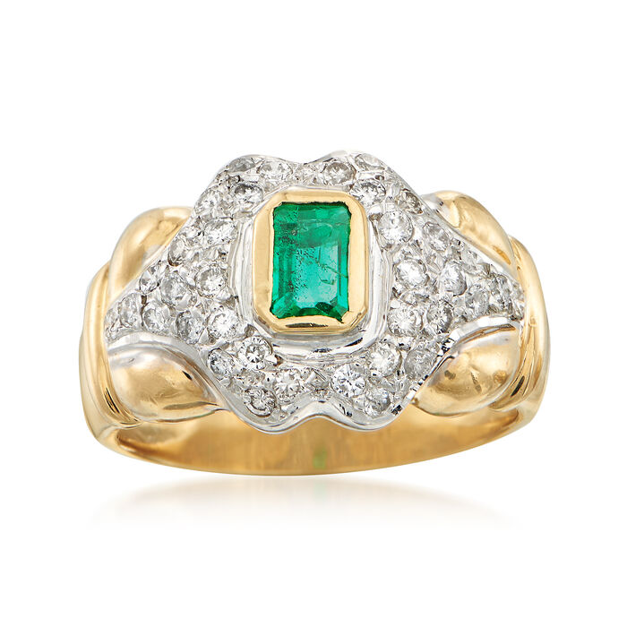 C. 1990 Vintage Emerald and Diamond Ring in 18kt Two-Tone Gold. Size 7, , default