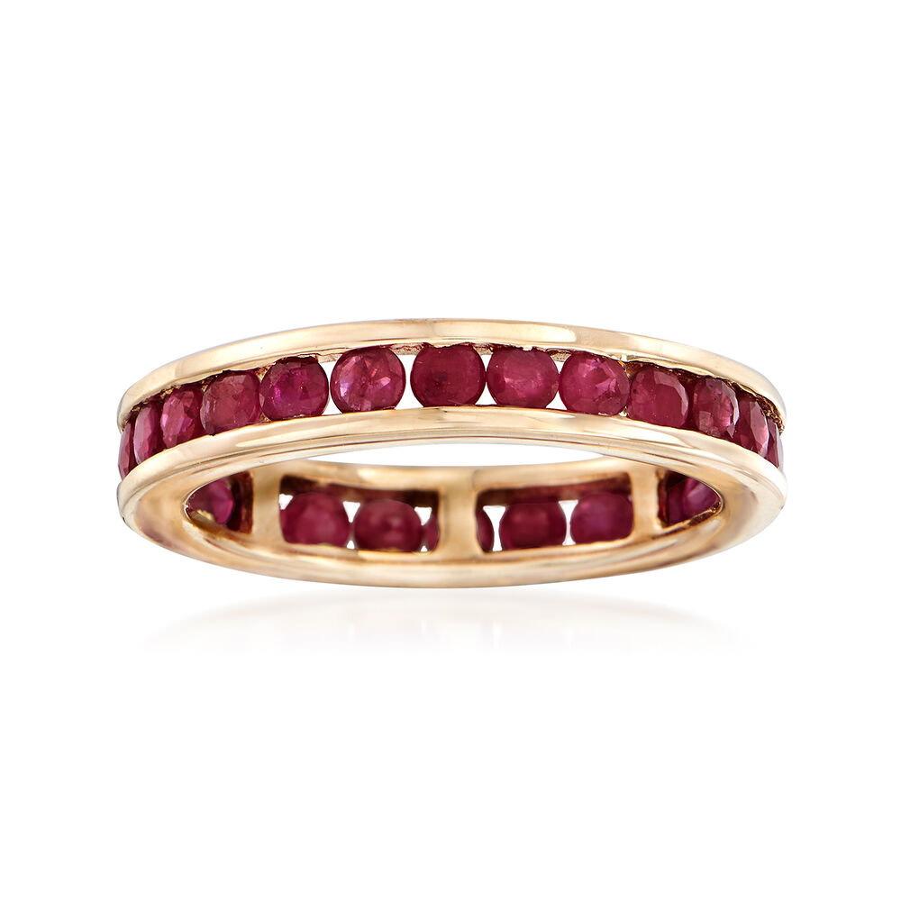 1 60 Ct T W Channel Set Ruby Eternity Band In 14kt Yellow Gold