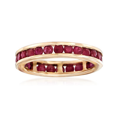 1.60 ct. t.w. Channel-Set Ruby Eternity Band in 14kt Yellow Gold, , default
