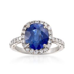 C. 2000 Vintage 4.19 Carat Sapphire and .75 ct. t.w. Diamond Ring in Platinum. Size 4.5, , default