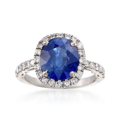 C. 2000 Vintage 4.19 Carat Sapphire and .75 ct. t.w. Diamond Ring in Platinum, , default