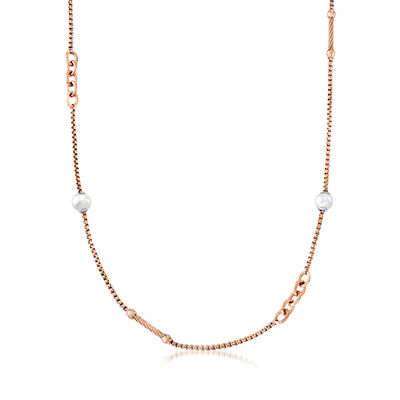 "ALOR ""Chain Reaction"" Cultured Pearl Rose-Hued Stainless Steel Necklace, , default"