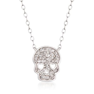 .14 ct. t.w. Pave Diamond Skull Necklace in 14kt White Gold, , default