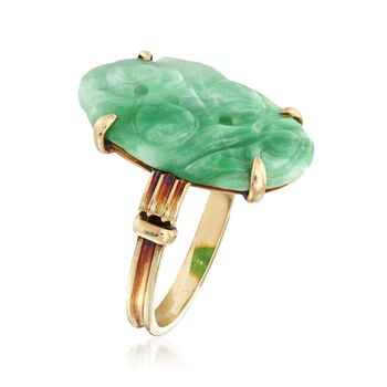 C. 1930 Vintage Carved Jade Leaf and Pod Ring in 14kt Yellow Gold. Size 5.75, , default