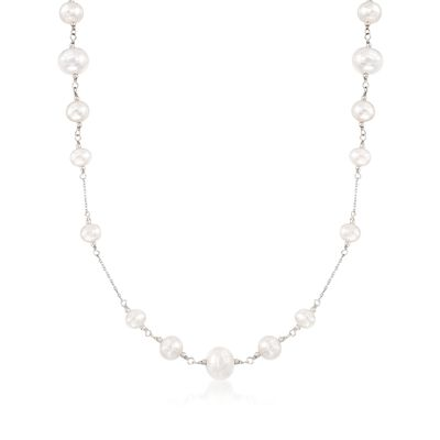 6-10mm Cultured Pearl Station Necklace in Sterling Silver