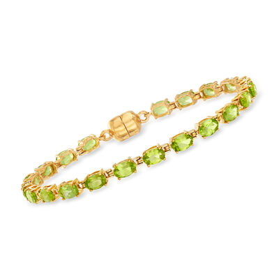 8.50 ct. t.w. Peridot Tennis Bracelet in 18kt Gold Over Sterling with Magnetic Clasp