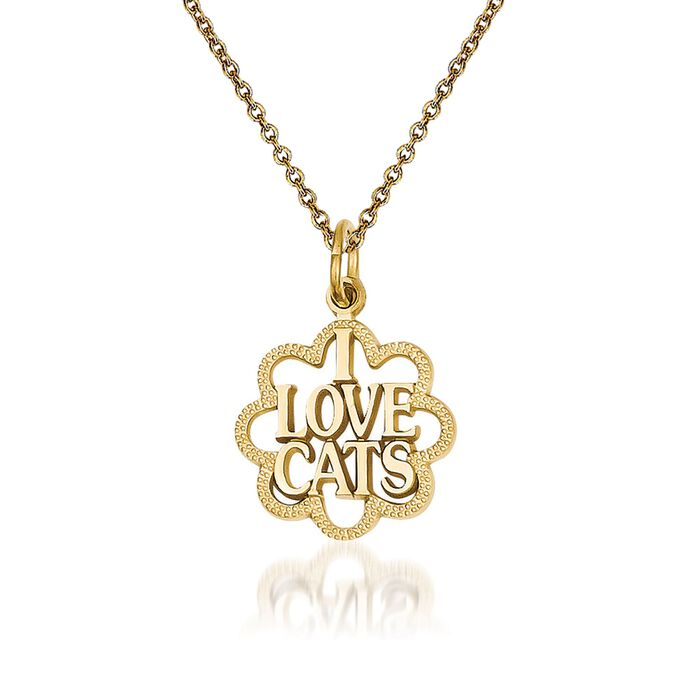 """14kt Yellow Gold I Love Cats Pendant Necklace. 18"""", , default"""
