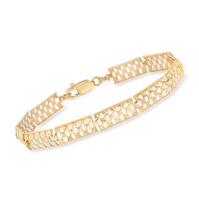 14kt Yellow Gold Diamond-Cut Openwork Bracelet, , default