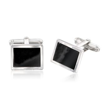 Black Onyx and Sterling Silver Jewelry Set: One Pair of Cuff Links and Two Pairs of Shirt Studs , , default