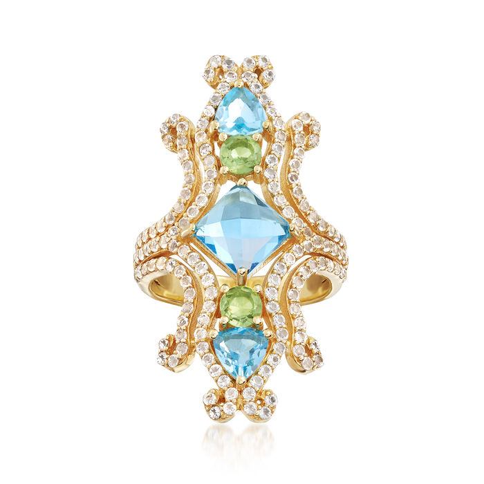 5.90 ct. t.w. Multi-Stone Ring in    18kt Yellow Gold Over Sterling Silver, , default