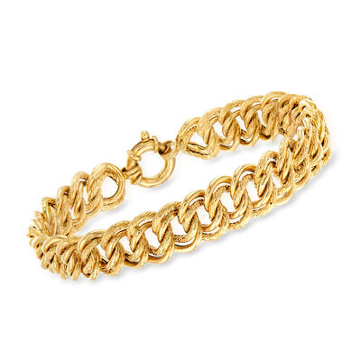 Italian Double Interlocking Link Bracelet in 18kt Yellow Gold, , default