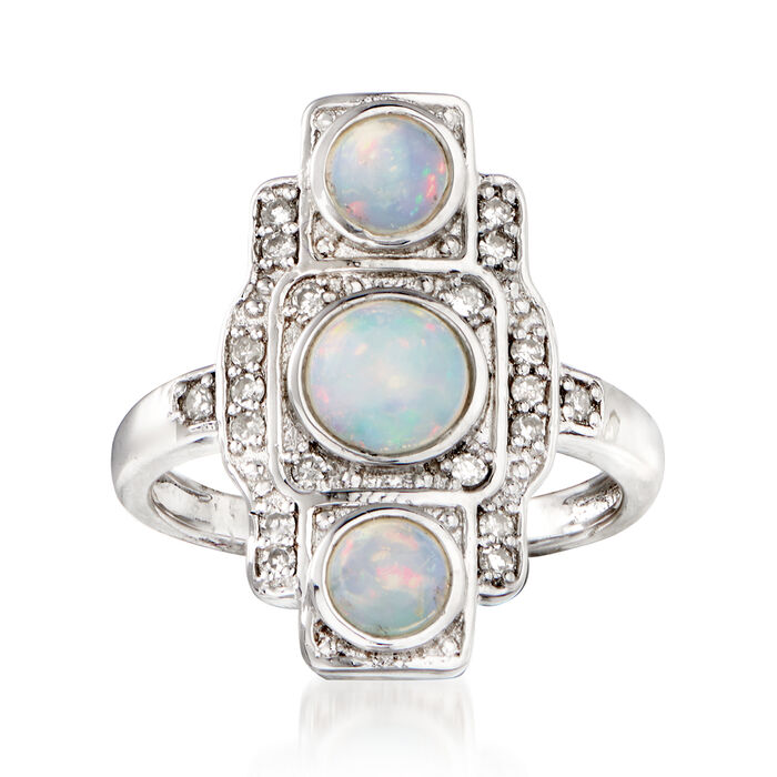 Opal and .23 ct. t.w. Diamond Ring in Sterling Silver