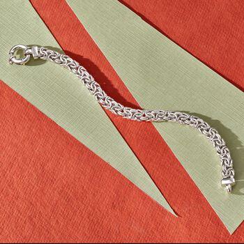 Italian Sterling Silver Medium Byzantine Bracelet, , default