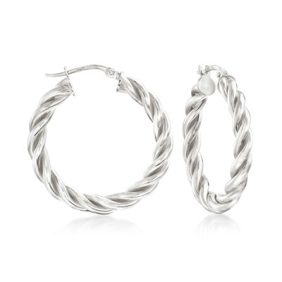 Italian Sterling Silver Small Twisted Hoop Earrings, , default