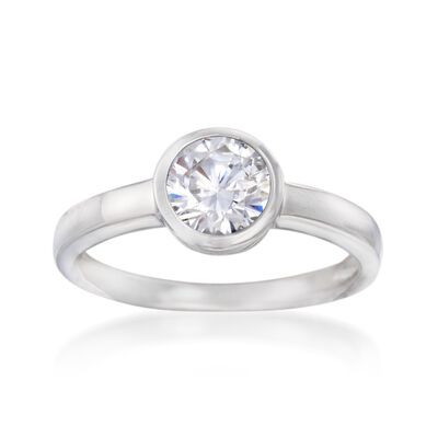 1.00 Carat Bezel-Set CZ Ring in Sterling Silver, , default