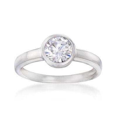 1.00 Carat Bezel-Set CZ Ring in Sterling Silver, , default